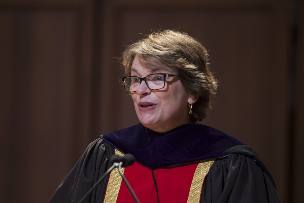 Christina H. Paxson, Brown University president speaking during the induction ceremony.